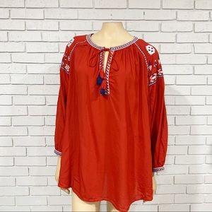 Loft Women's Embroidered Split Neck Boho Tunic
